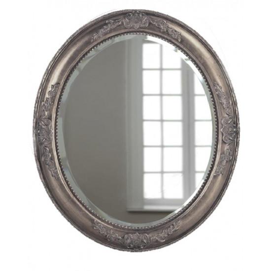 """Зеркало овальное настенное в серебряной раме """"Эвора"""" Серебро в интернет-магазине ROSESTAR фото"""