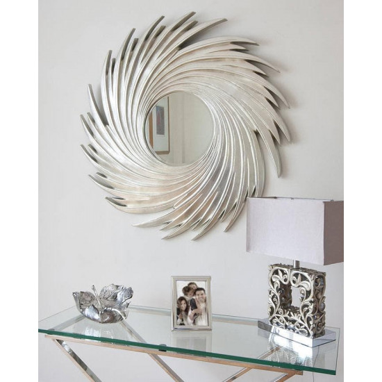 "Зеркало солнце в раме ""Свирл"" Серебро в интернет-магазине ROSESTAR фото"