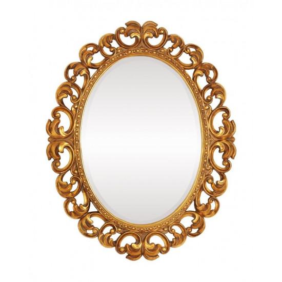 """Зеркало настенное в овальной фигурной раме """"Шербур"""" Золото в интернет-магазине ROSESTAR фото"""