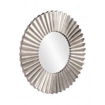 Круглое настенное зеркало в серебристой раме Монро