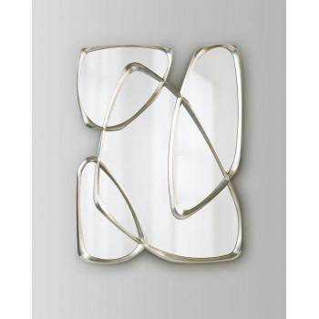 """Дизайнерское стильное настенное зеркало в оригинальное фигурной раме """"Луар"""" Серебро"""