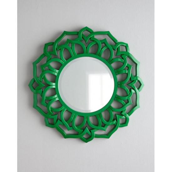 """Круглое зеркало в зелёной раме """"Коул"""" в интернет-магазине ROSESTAR фото"""