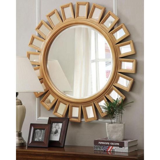"""Зеркало настенное в круглой раме """"Эштон"""" Золото в интернет-магазине ROSESTAR фото"""