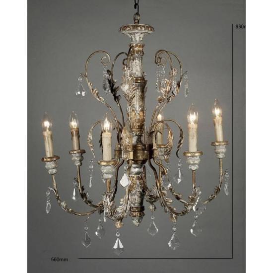 Люстра потолочная во французском стиле с 6-ю лампами Чизвик в интернет-магазине ROSESTAR фото