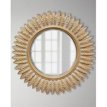 """Зеркало круглое в раме """"Барклай"""" Золото с белой патиной"""