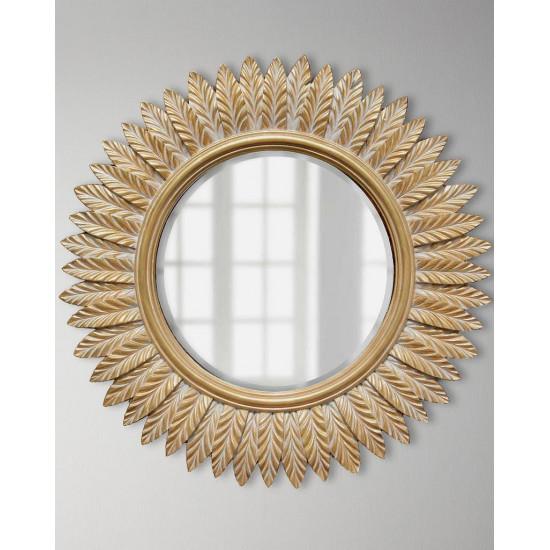 Зеркало круглое в раме Барклай Золото с белой патиной в интернет-магазине ROSESTAR фото