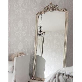 """Зеркало напольное большое в серебряной раме в полный рост """"Лоренцо"""" Серебро"""