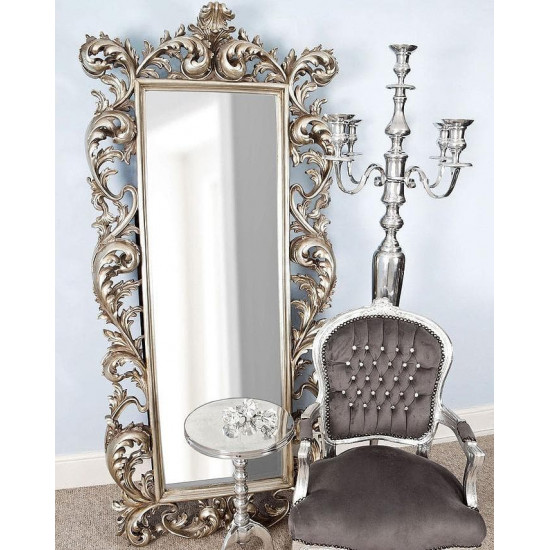 """Зеркало напольное большое в серебряной раме в полный рост """"Меривейл"""" Серебро в интернет-магазине ROSESTAR фото"""