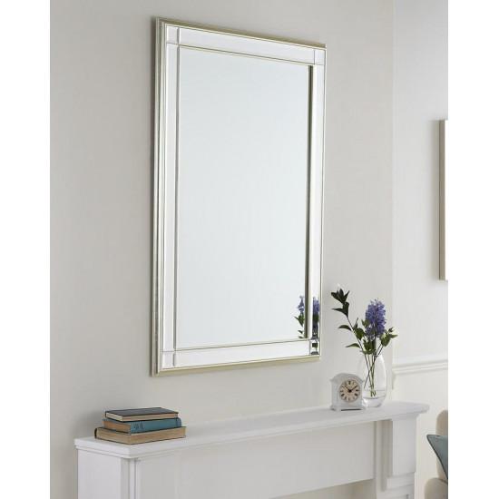 Зеркало настенное в прямоугольной раме Дорсет Серебро в интернет-магазине ROSESTAR фото