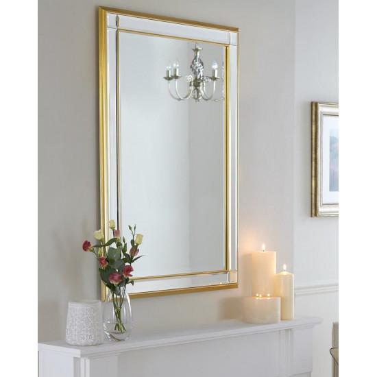 """Стильное прямоугольное зеркало в раме """"Дорсет"""" Голд в интернет-магазине ROSESTAR фото"""