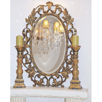 """Зеркало овальное в золотой раме """"Гойя"""" Золото"""
