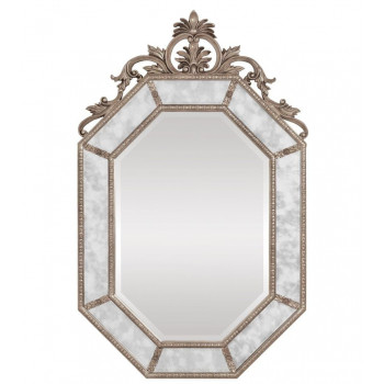 Дизайнерское красивое настенное зеркало в серебряной раме Лидс Серебро
