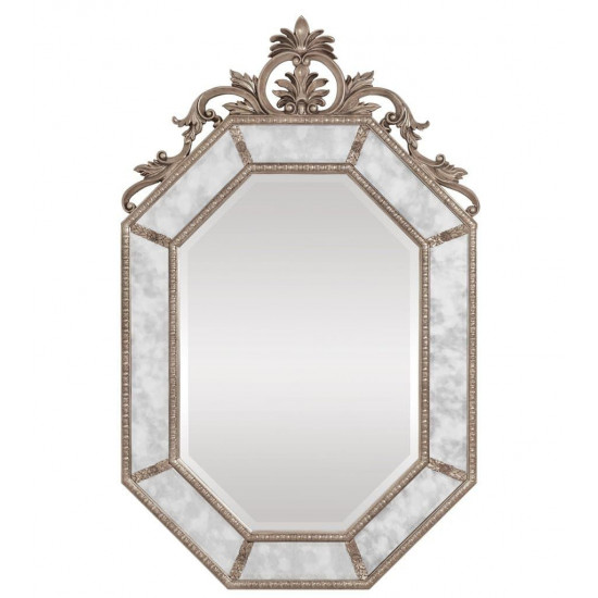 """Дизайнерское красивое настенное зеркало в серебряной раме """"Лидс"""" Серебро в интернет-магазине ROSESTAR фото"""
