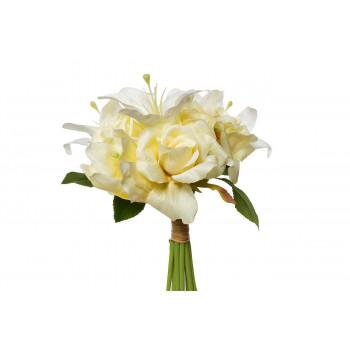 Букет розы-лилии желто-белый 30см 9F28017SN-4734