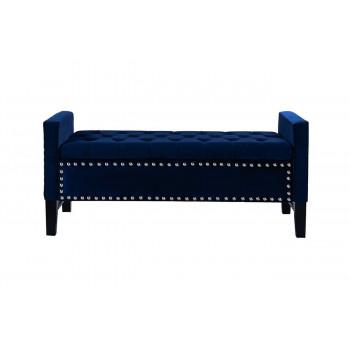 Банкетка синяя с ящиком открывающаяся велюр 127*50*56см Alice cc-67