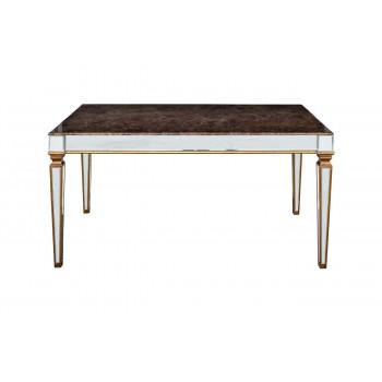 Стол обеденный, столешница мрамор, зеркальные вставки 180*90*78см KFC1152E7A