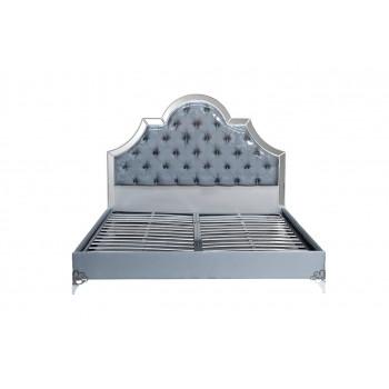 Кровать с зеркальными вставками серо-голубая 1870*2075*1500мм арт. KFC1096