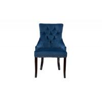 Велюровый стул на деревянных ножках синий 63*56*99см 24YJ-236-466