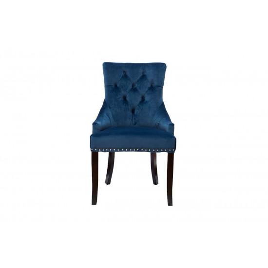 Велюровый стул на деревянных ножках синий 63*56*99см 24YJ-236-466 в интернет-магазине ROSESTAR фото