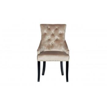 Велюровый стул на деревянных ножках бежевый 63*56*99см 24YJ-236-413