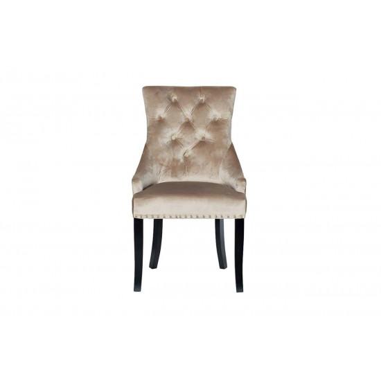 Велюровый стул на деревянных ножках бежевый 63*56*99см 24YJ-236-413  в интернет-магазине ROSESTAR фото