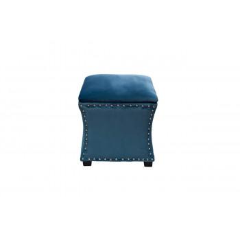 Банкетка-пуф с ящиком и крышкой открывающаяся велюр синяя 42*42*45см 24YJ-5005-06466