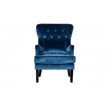 Синее велюровое кресло с высокой спинкой с подушкой на деревянном каркасе и ножках 77*92*105см 24YJ-7004-06466/1
