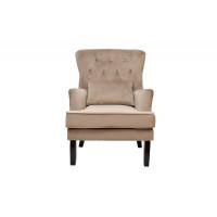 Велюровое кресло с подушкой на деревянных ножках бежевое 77*92*105см 24YJ-7004-06413/1
