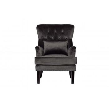 Велюровое серое кресло с подушкой на деревянных ножках 77*92*105см 24YJ-7004-06437/1
