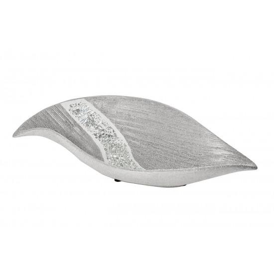 Керамическое серебряное блюдо 35*16,5*8 18H7921-1 в интернет-магазине ROSESTAR фото