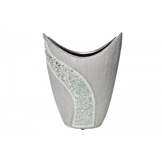 Керамическая серебряная ваза 19,5*8,5*25 18H6938S-1  в интернет-магазине ROSESTAR фото