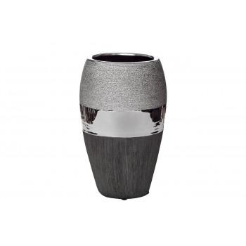 Керамическая чёрно-серебристая ваза 14*9,5*24 18H2373M-2