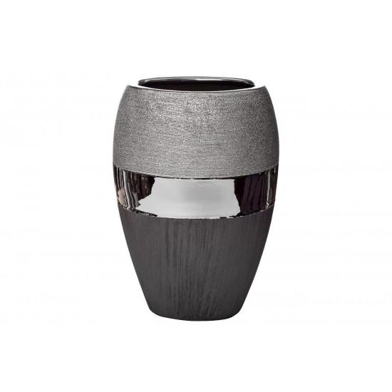 Керамическая чёрно-серебристая ваза 20*13.5*28 18H2373L-2  в интернет-магазине ROSESTAR фото