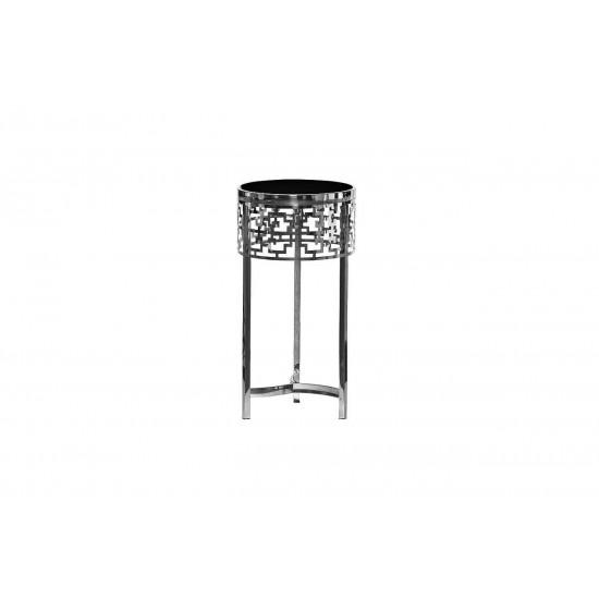 Металлический серебряный круглый журнальный столик с чёрным стеклом d35*70см 13RXFS5080L-SILVER в интернет-магазине ROSESTAR фото