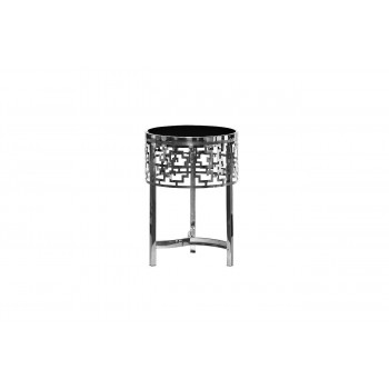 Металлический серебряный круглый журнальный столик с чёрным стеклом d35*50см 13RXFS5080M-SILVER