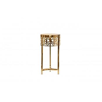 Металлический золотой круглый журнальный столик с коричневым стеклом d35*70см 13RXFS5080L-GOLD