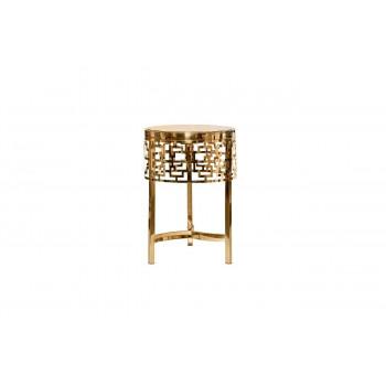 Круглый золотой журнальный столик с коричневым стеклом d35*50см 13RXFS5080M-GOLD