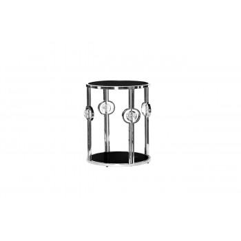 Металлический круглый серебряный журнальный столик с чёрным стеклом 50*50*60см