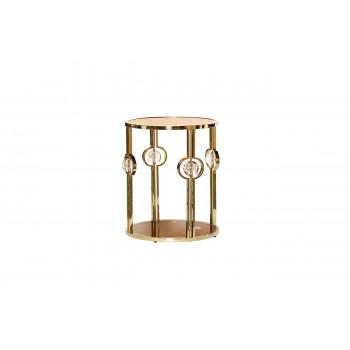 Золотой металлический круглый журнальный столик с коричневым стеклом 50*50*60см 13RXET6034-GOLD