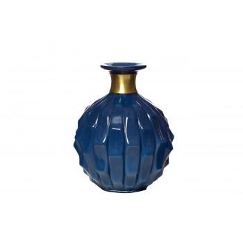Стеклянная тёмно-синяя ваза 21*25 KL2125C