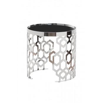 Металлический круглый серебряный журнальный столик с чёрным стеклом d50*50см 13RXET8011-SILVER