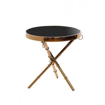 Металлический золотой круглый журнальный столик с чёрным стеклом 50*50*50см 13RX6035-GOLD