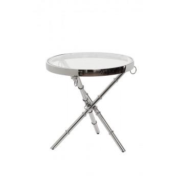 Металлический круглый серебряный журнальный столик со стеклом 50*50*50см 13RX6035-SILVER