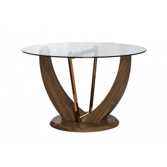Стол обеденный со стеклом круглый бежевый d122*76см 30F-908 в интернет-магазине ROSESTAR фото