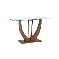 Консоль деревянная бежевая со стеклом 127*46*75см 30B-791-2