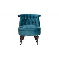 Низкое велюровое стеганное кресло сине-зеленое 46*61*70см ножки т-кор. HD2202868-BBD