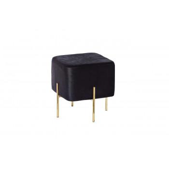 Банкетка чёрная с металлическими золотыми ножками велюр 42х42х42см GY-BEN7772GOLD-BL