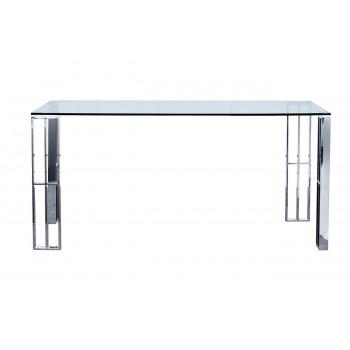 Стол обеденный металлический хром с прозрачным стеклом  160*90*75см GY-DT06SS