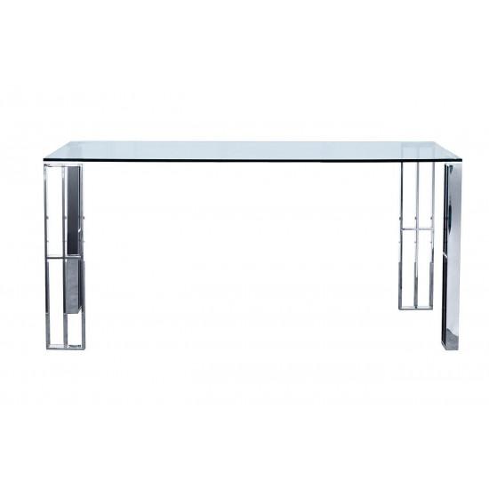 Стол обеденный металлический хром с прозрачным стеклом  160*90*75см GY-DT06SS в интернет-магазине ROSESTAR фото