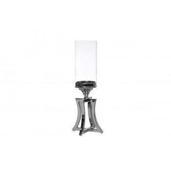 Стеклянный серебряный подсвечник на металлической ножке 12х12х41,5 2K153119